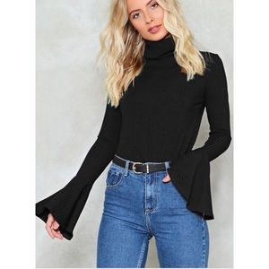 Nwt nasty gal black bell sleeves turtleneck top
